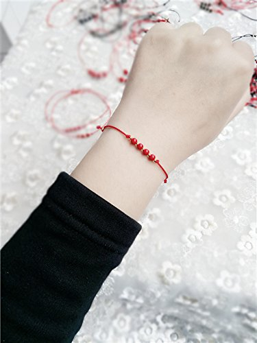 Hand-woven rope hand-natal ward off evil couple of men and women cinnabar beads sterling silver transporter red string bracelet anklet fine