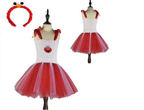 (White/Red Sesame Monster Costume Tutu Dress from Chunks of Charm (3T))
