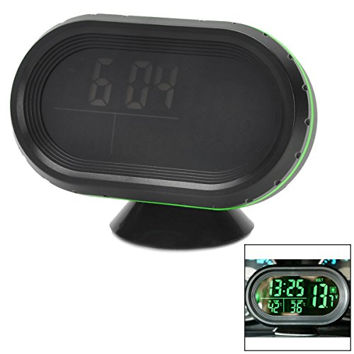 AVOLUTION Black + Green ABS plastic Car 2.5'' LCD Clock/Thermometer/Battery Voltmeter by AVOLUTION (Image #5)