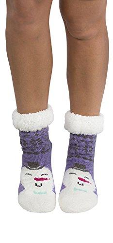 Women's Faux Fur Fuzzy Winter Animal Socks with Grippers -