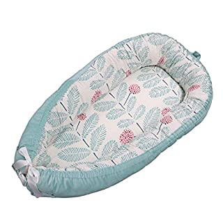 Baby Lounger,Reversible Newborn Co Sleeping Bassinet for Bed - Breathable Comfortable Removable Portable Snuggle Nest Bed for 0-2 Years Old Infant - 100% Organic Cotton (C1)
