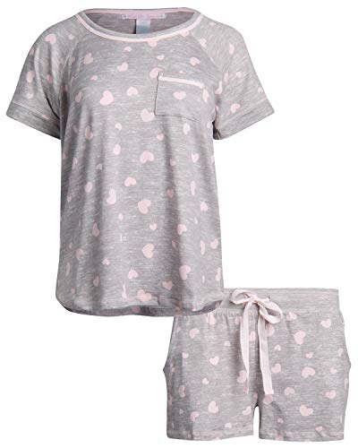 Pillow Talk Pattern - Pillow Talk Women's Sleepwear Butter-Soft-Touch Yummy Pajama Short Set with Tee, Heather Grey/Hearts, Size Small'