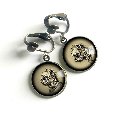 Brussels Griffon dog Clip-on Earrings
