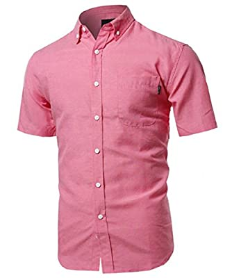 Ollie Arnes Men's Short Sleeve Classic Oxford and Printed Woven Button Up Shirt