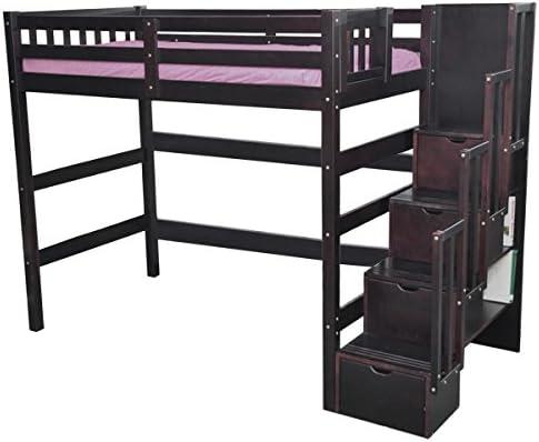Amazon Com Scanica Staircase Twin Loft Bed With Storage Espresso