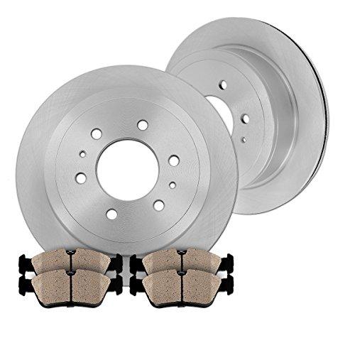 REAR 313 mm Premium OE 6 Lug [2] Brake Disc Rotors + [4] Ceramic Brake Pads (Brake Trooper Pad Rear)