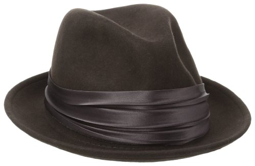 Stacy Adams Men's Crushable Wool Felt Snap Brim Fedora, Brown, Large (Stingy Snap)