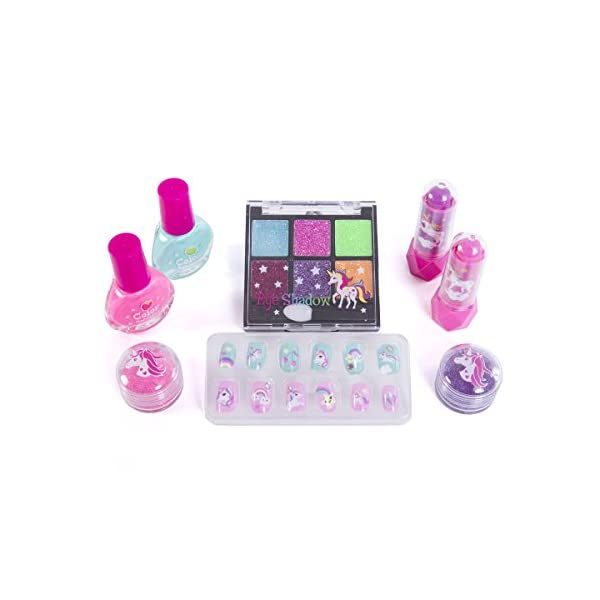 Hot Focus Carry All Cosmetic Set - 20 Piece Unicorn Makeup Set for Girls Includes, Non-Toxic Nail Polish, Press on Nails, Glitter Eyeshadow, Tinted Lip Balms, Glitter and Carrying Case 4