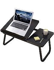 Mnkyer Składany stolik pod laptopa, stolik na laptopa, biurko, regulowany stolik pod laptop, do łóżka, notebooka, biurko, przenośna półka na łóżko, wielofunkcyjna, tablet z uchwytem na napoje