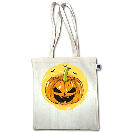 Halloween - Faccia Zucca Di Halloween - Unisize - Natural - Xt600 - Manico Lungo In Juta Bag