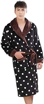 DAFREW Bata de baño Gruesa y cálida en Batas de Noche, de otoño e Invierno, Pijamas para Hombres, Traje de Solapa de Moda (Color : Negro, Tamaño : 2XL)
