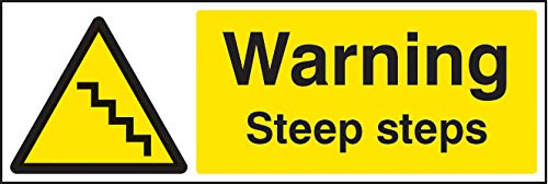 Warning steep steps Rigid Plastic Warning Signs
