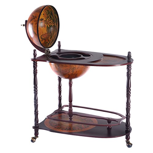Goplus 34' Wood Globe Wine Bar Stand 16th Century Italian Rack Bigger Shelf for More Liquor Bottle