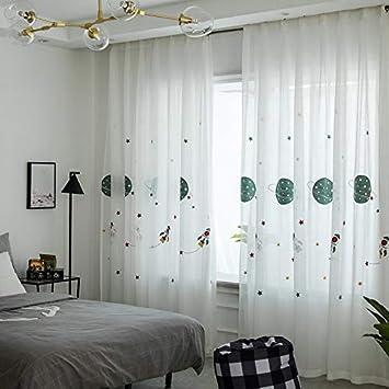 Lactraum Vorhang Kinderzimmer Junge Transparent Weiß mit Ösen Bestickt  Planet Sterne Raumschiff Voile 145 x 245cm