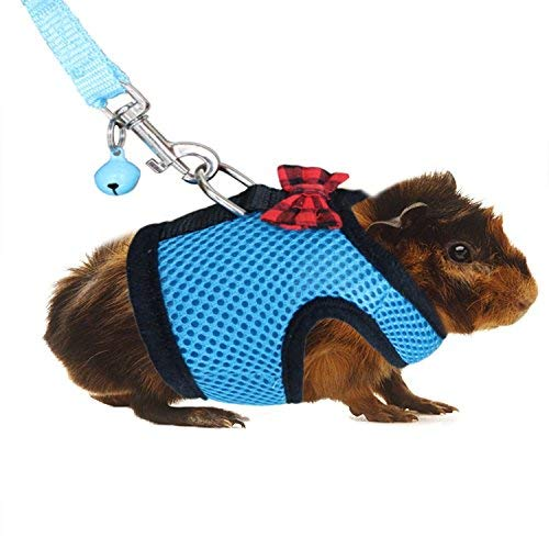 Guinea Pig Harness with Leash Adjustable Soft Mesh Small Pet Harness with Safe Bell,Comfort Padded Vest Durable Nylon Harness All Season for Rats,Hamster,Iguana, Bearded Dragon,Baby Ferret ... (Blue)