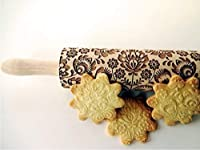 Rolling pin FOLK. Wooden embossing rolling pin with folk flowers. Embossed cookies. Pottery. Birthday gift. Gift for mother. Bridal shower gift