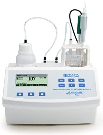 Hanna Instruments HI84434-01 Titratable Acidity Mini Titrator and pH Meter, For Vinegar, 115V, +/-0.01 pH Accuracy, 0.1 pH / 0.01 pH Resolution