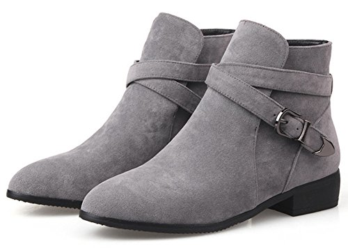 Pointed Toe Gray on Booties Faux Women's Slip Stylish Boots Heel Buckle Summerwhisper Cross Short Low Suede Block Strap Ankle 6nq0gUUw84