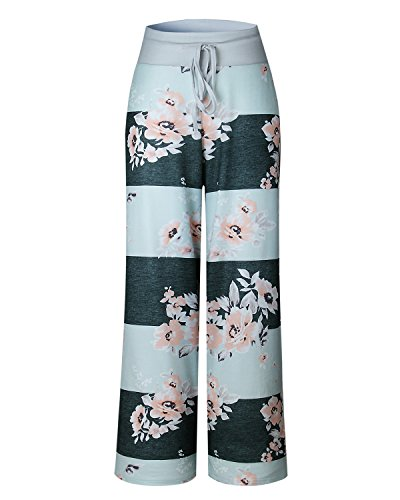 GAMISS Women's Casual Wide Leg Pajama Pants Floral Print Comfy Drawstring High Waist Yoga Lounge Palazzo Pants (XL, Blue (Floral Wide Leg Trouser)
