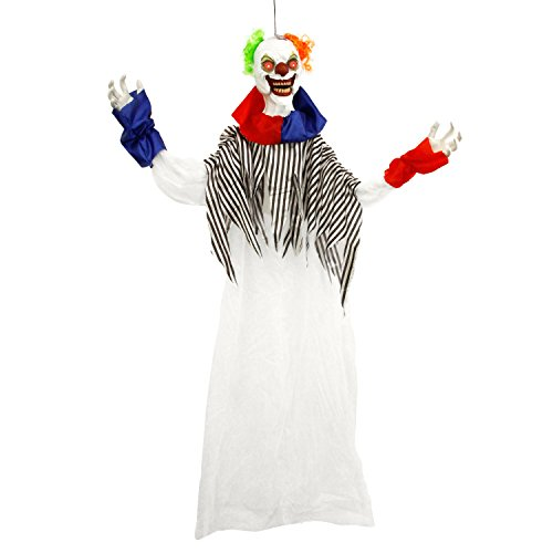 Halloween Haunters 6 Foot Animated Hanging Scary Circus Clown with Moving Speaking Mouth Prop Decoration - 2 Spooky Phrases, LED Eyes - Battery Operated