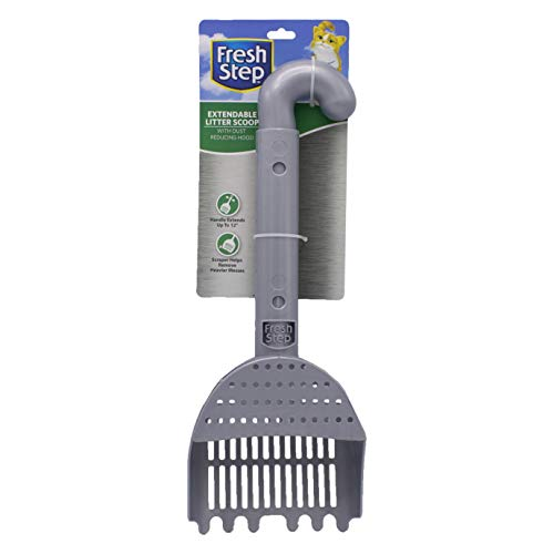 Fresh Step Extendable Cat Litter Box Scoop | Kitty Litter Scooper With Scraper Extends Up to 12 Inches