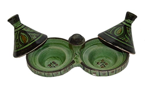 Moroccan Handmade Tagine Double Spice Holder seasoning Container 3 100% handmade and painted Tagine Spice holder Decorative and functional We suggest you hand wash the spice holder Small 6.5 inches wide by 3.5 inches high with 1 inche deep