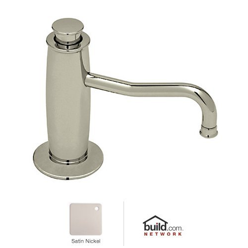 Rohl LS3550 Michael Berman Deck Mounted Soap Dispenser with 12 Ounce Bottle, Satin Nickel