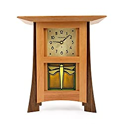 American Made Contemporary Cherry Wood Mantel/Shelf Clock with Dragonfly Art Tile, 12