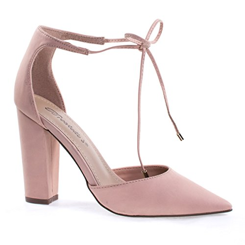 Open Side Pump (Rena13 blush Lace-Up D'Orsay Pump, Chunky Block High Heel, Pointed Toe, Open Side -8)