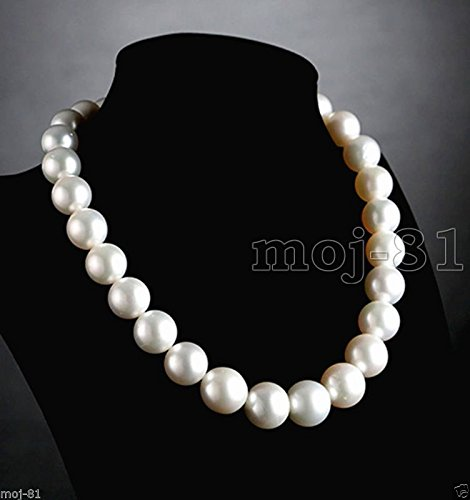 Rare Huge 14mm Natural White Round South Sea Shell Pearl Necklace 18