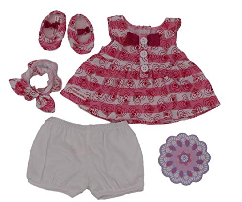 - American Girl Hearts & Stripes Valentines Outfit for Bitty Baby Dolls