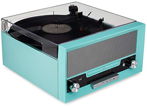 ClearClick All-in-One Turntable with CD Player, FM Radio, Bluetooth, Aux-in, & USB - Vintage Retro Modern Design (Turquoise)