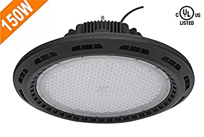 CY LED 150W UFO LED High Bay Lighting, UL Listed, 300W HPS/MH Bulbs Equivalent, 18500lm, Waterproof,CoolWhite, 6000K, Super Bright Commercial Lighting, LED High Bay Lights