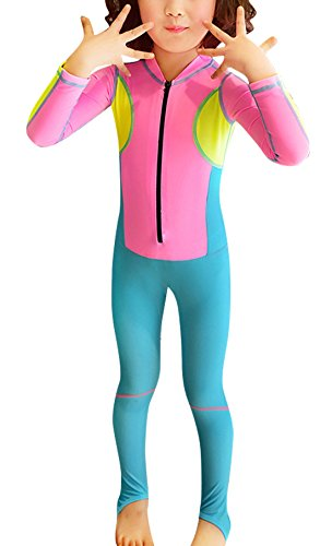 Meiyier Toddler Kid Neoprene Hooded Swimsuit Long Sleeve Full Length Rashguard UV Protection Lightweight Fullsuit - 4-5Y