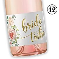 BRIDE TRIBE Mini Champagne Bottle Labels ● SET of 12 ● Bachelorette Party Mini Wine Label, Bride Squad Wine Labels, Bridal Shower Mini Champagne Labels, BUBBLY for My Bride Tribe WATERPROOF M612-BT-12