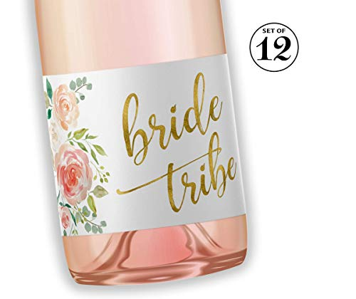 BRIDE TRIBE Mini Champagne Bottle Labels ● SET of 12 ● Bachelorette Party Mini Wine Label, Bride Squad Wine Labels, Bridal Shower Mini Champagne Labels, BUBBLY for My Bride Tribe WATERPROOF M612-BT-12 (Mini Wine Labels)