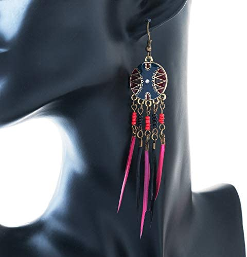 Red and Blue DHMK 2Pairs Feather Earring Bohemian Feather Hook Dangle Earrings for Women Girls Valentines Day