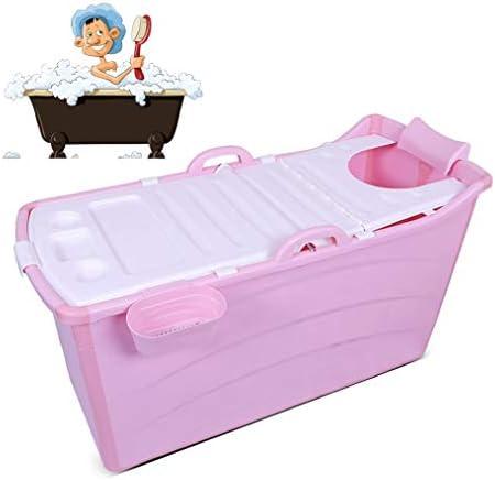折りたたみバスタブ GYF 折りたたみ大人用浴槽 ポータブルプラスチック浴槽 座るカバー付き ホームアダルト 子供用入浴浴槽ベビースイミングビッグタブ 2色ベビー用 バスタブ (Color : Pink)