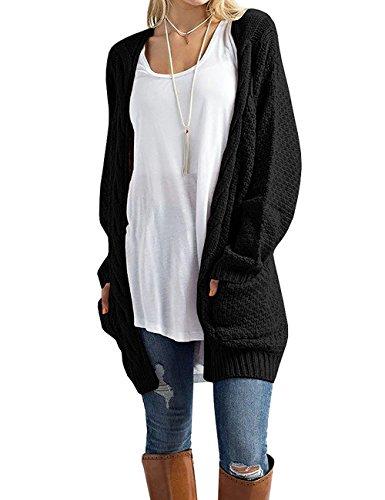Steven McQueen Women's Cable Knit Sweater Open Front Long Cardigans Black L