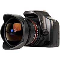 Bower SLY8VDC Ultra-Wide 8mm T3.8 Digital Fisheye Cine Lens for Canon SLR Camera