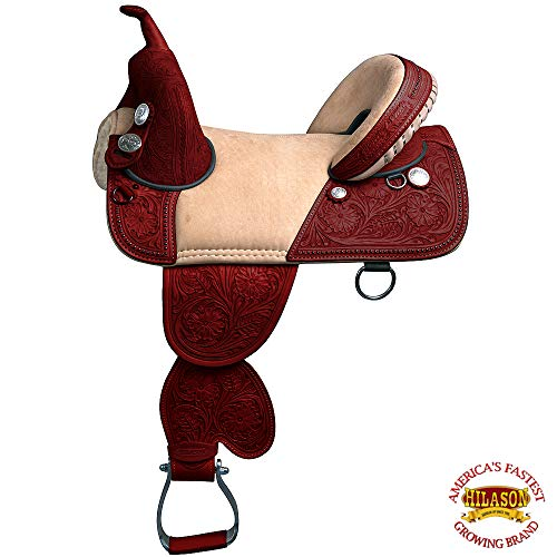 HILASON 14″ 15″ 16″ 17″ TREELESS Western Trail Barrel Racing Leather Saddle TAN/Black/Brown/Mahogany