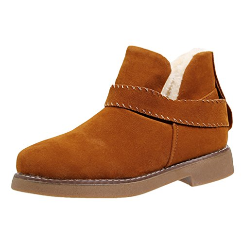 Jitong Women's Warm Faux Suede Boots Low Heel Faux Fur Lined Ankle Booties Slip On Winter Shoes Brown WDDY4j