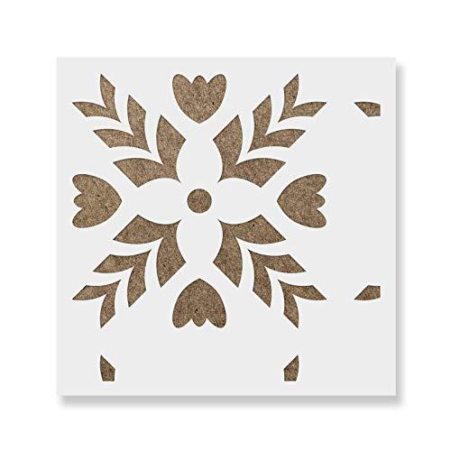 "Freya Tile Stencil - Reusable Floor & Backsplash Scandinavian Tile Stencils for Home Decor, Furniture, and Walls 12""x12"""