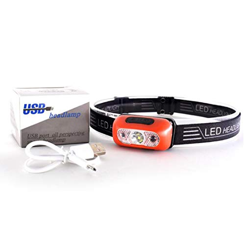 LED Headlamp USB Rechargeable Headlight Professional Ultra-Bright 500 Lumens IPX5 Waterproof with Memory Function and Adjustable Headband for Camping, Hiking, Climbing, Fishing, Reading - Red