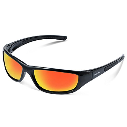 Duduma Tr8116 Polarized Sports Sunglasses for Baseball Cycling Fishing Golf Superlight Frame (Black frame with red mirror - For Designer Less Eyeglasses