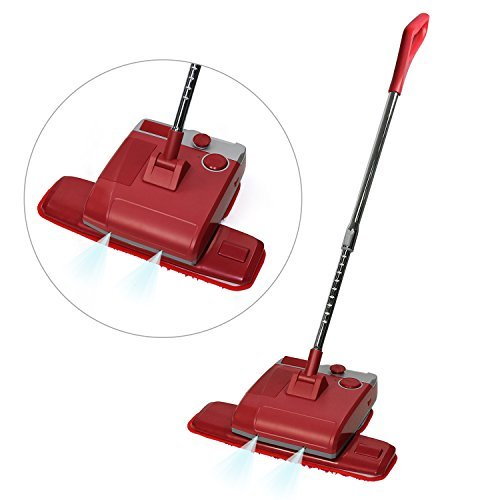 Electronic Spin Mop and Polisher, Wet Mopping and Dry Mopping Cordless Mop Household Cleaning Tool (Agate Red)