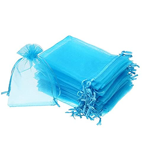 Mudder 50 Pieces 4 by 6 Inch Organza Gift Bags Drawstring Jewelry Pouches Wedding Party Favor Bags (Aqua - Aqua Sheer Organza Ribbon