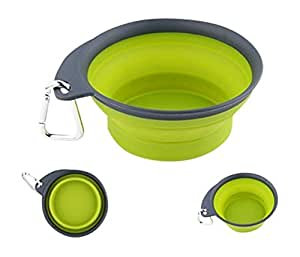 Collapsible Travel Dog Bowl by Olive Paws - Large, Green Pet Bowl for Water and Food - Perfect for Outdoor & Travel