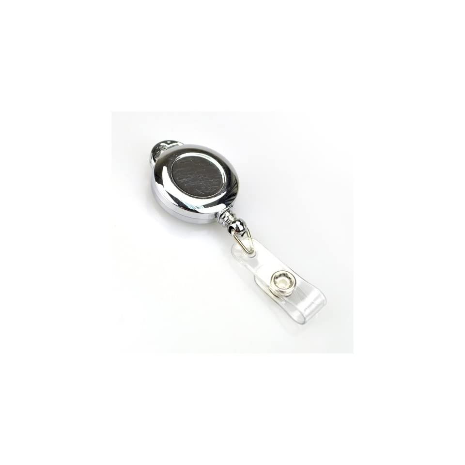 Retractable Chrome Color ID & Name Badge Holder Reel, With Belt Clip, SOLD INDIVIDUALLY