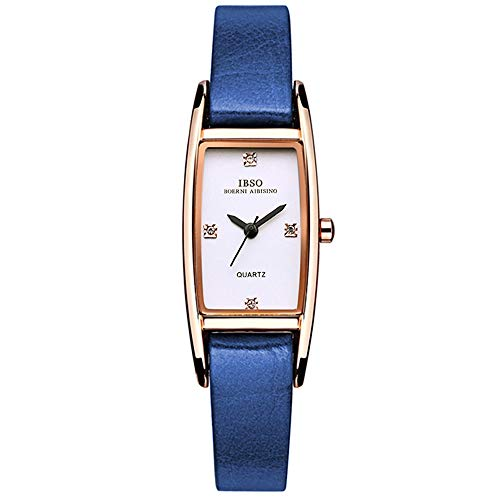 Tayhot Women Rectangle Watch,Lady Blue Leather Quartz Analog Square Dial Waterproof Simple Design Rose Gold Crystal Business Casual Wrist Watch